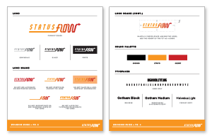 Brand book sample with logo, color palette and typography